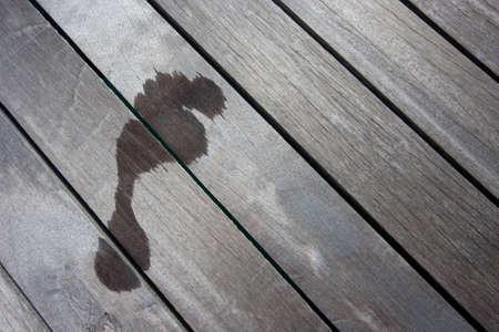 footprint on balcony Stock Photo
