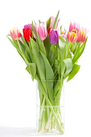 vase isol� avec multiples couleurs tulipes Banque d'images