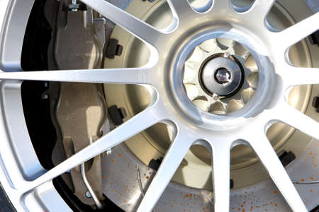 close up of rims from a racecar photo