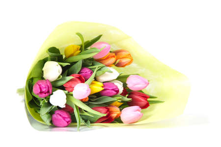 Bouquet of tulips wrapped in paper  Isolated on White