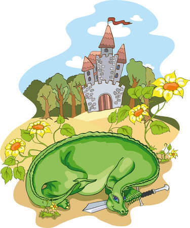 Green dragon with sword. No gradient. Stock Vector - 7669399