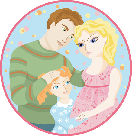 Portraits mother, father and daughter Vector