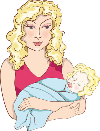 Nice mother with newborn baby on hands. Vector