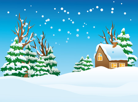 illustration of a snow-covered village. Vector