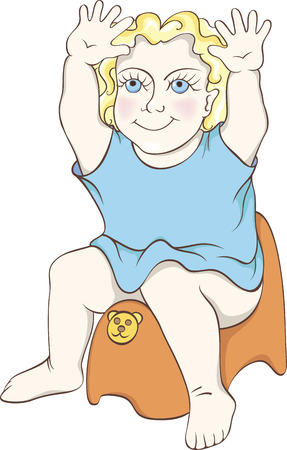 illustration of a boy on a chamber pot. Vector