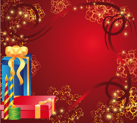 red gift box: holiday card with gifts