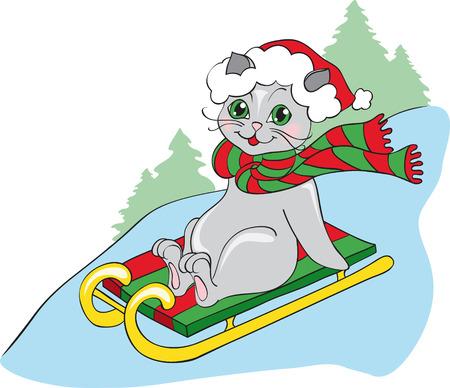 grey cat on sledge Vector