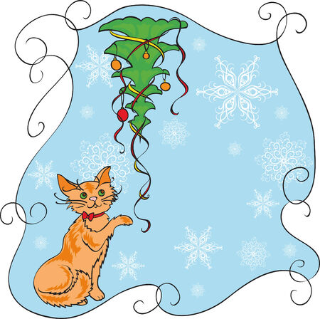 Orange cat and new year tree Vector