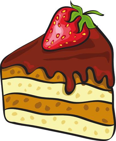 porcion de torta: trozo de pastel de chocolate con fresa  Vectores