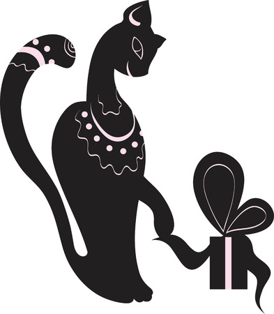 cat and gift Vector