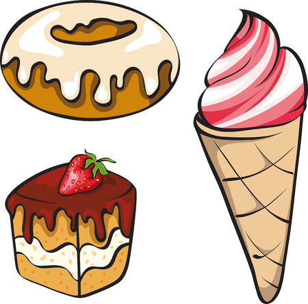 A vector illustration set of sinful looking desserts for the sweet-toothed.