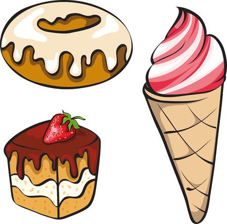 tarta: Ilustracja wektora zestaw grzeszny desery wyglądających dla Pelomys słodkie.