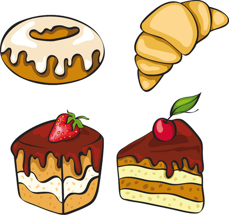 A set of sinful looking desserts. No gradient.