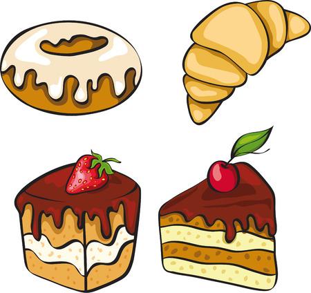 casse-cro�te: Un ensemble de desserts looking p�cheurs. Pas de gradient. Illustration