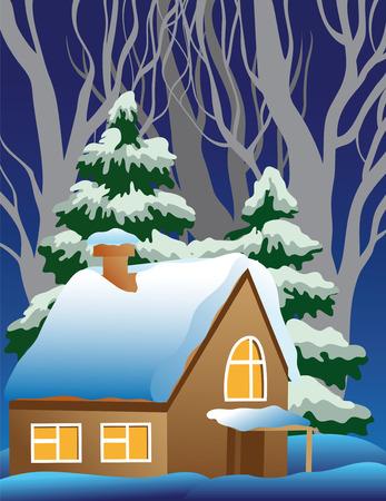 coniferous forest: un pueblo de cubiertas de nieve.  Vectores