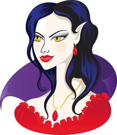 illustration. Vampire in red dress Vector