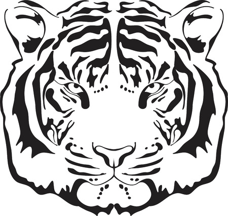silueta tigre: Silueta de cabeza de tigre. Ilustraci�n aislado sobre fondo blanco.