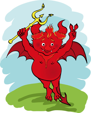 imp:  illustration. Devil with a trident.