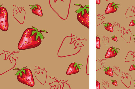 illustration seamless background with  strawberries. No gradient Vector