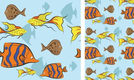 tropical fish swim under water  for design.  No gradient Vector