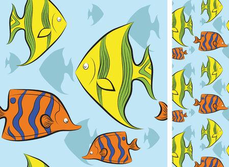 tropical fish swim under water. vector illustration. Vector