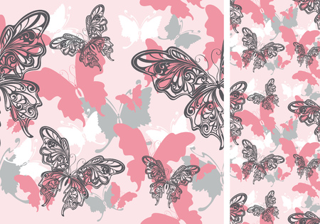 abstract butterfly: seamless pink background with butterflies  for design Illustration