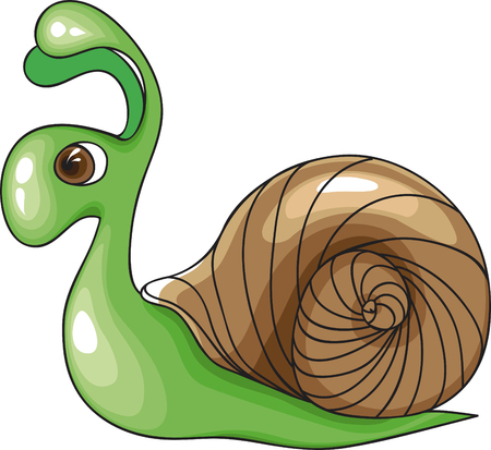 Green Snail. Illustration for design. No gradient. Vector