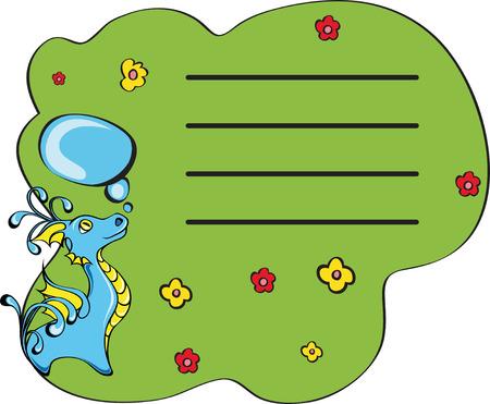 monster on grass. Blank for note. Illustration for design Stock Vector - 8017378