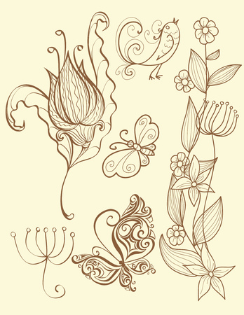 set of nature and floral elements.Nature background. Vector
