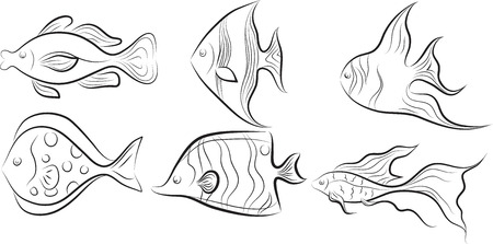 Collection of original stylised fishes. Illustration
