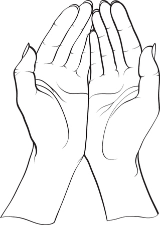 2 objects: two hands Illustration