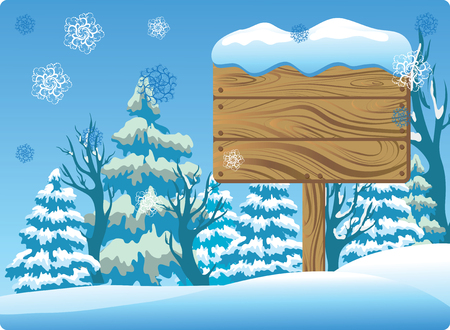 Winter Wooden Signboard Stock Vector - 8089969