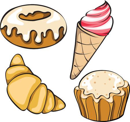 beignet: ensemble de desserts Illustration