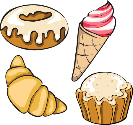set of desserts Stock Vector - 8089980