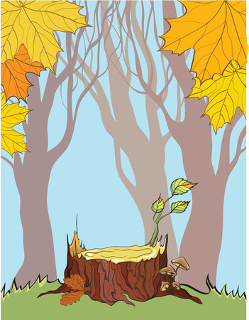 stump on the autumn background Vector