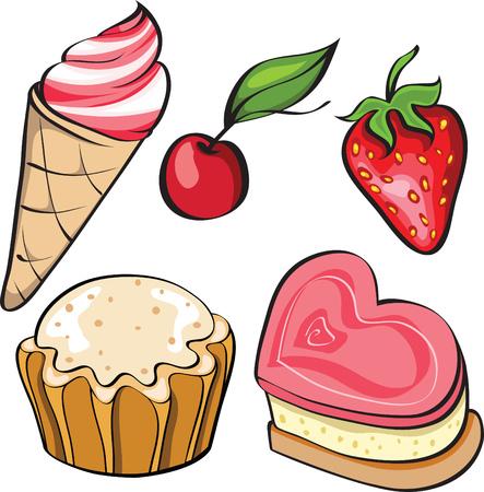 cherry pie: Set of appetizing desserts Illustration