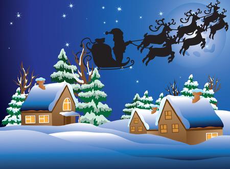 illustration of a snow-covered village. Illustration