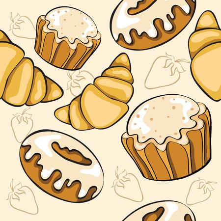 bun: seamless pattern with desserts