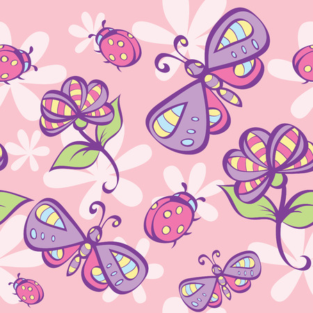 cartoon butterfly: seamless pattern with nature elements