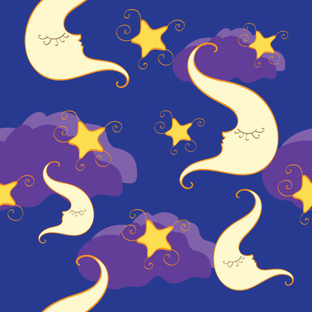 seamless pattern with half moon and star Vector