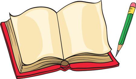 pencil cartoon: libreta y l�piz