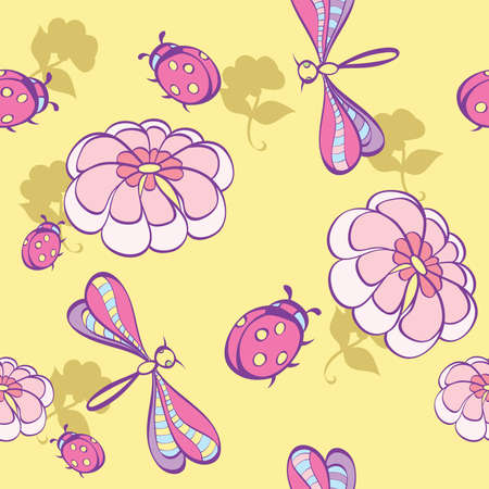 seamless background wint flowers Vector