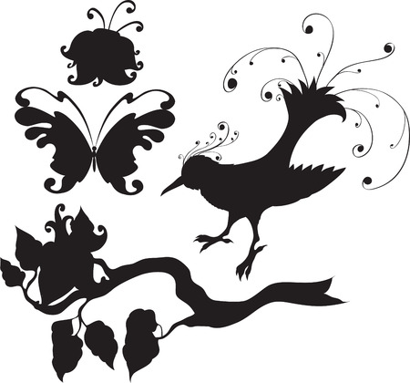 set of flowers and animals Vector