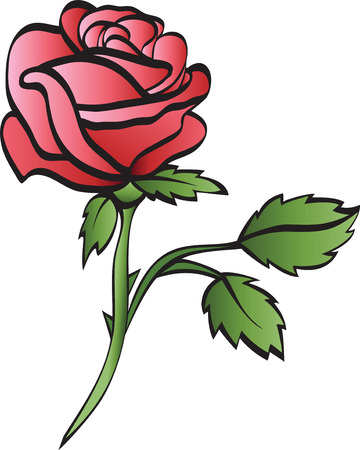 single color image: rose isolated on whte background Illustration