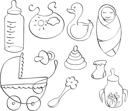 set of different childrens things isolated on white background