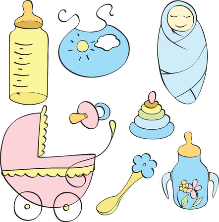 set of different children's things isolated on white background Stock Vector - 8265064