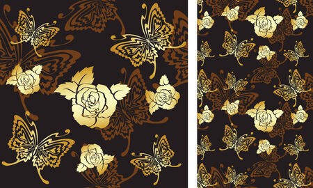 seamless background with roses and butterflies Vector