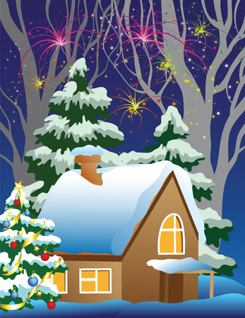 house in the woods in New Years Eve Vector