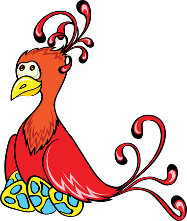 red fantasy bird with eggs Vector