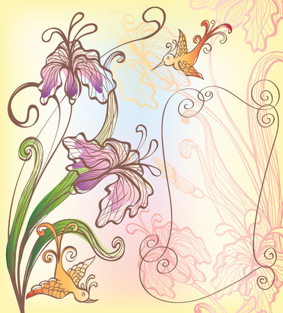 background with decorative fantasy flowers and bird Illustration
